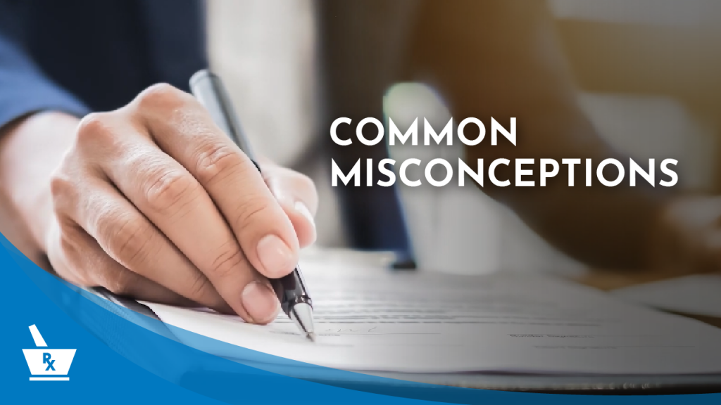 "a hand writing on a piece of paper with a pen with the caption ""COMMON MISCONCEPTIONS"""