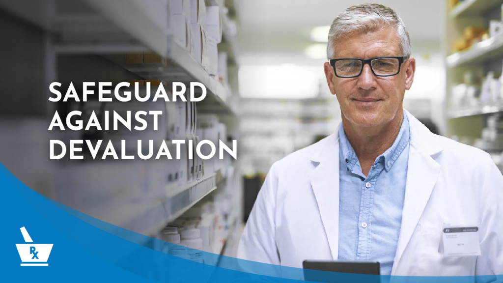 """a man in a white coat and glasses in between pharmacy shelves with the caption """"SAFEGUARD AGAINST DEVALUATION"""""""