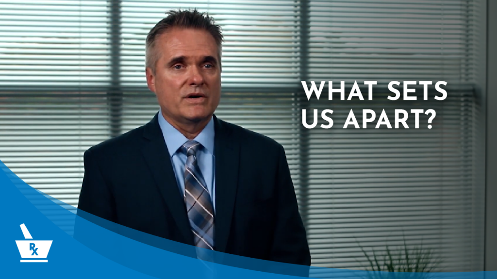 "A still from one of the PharmacyCBS videos - Dan Lannon speaking with the caption ""What Sets Us Apart?"""