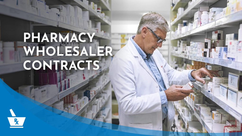 "a person in a white coat and glasses inspecting a box from a pharmacy shelf with the caption ""PHARMACY WHOLESALER CONTRACTS"""